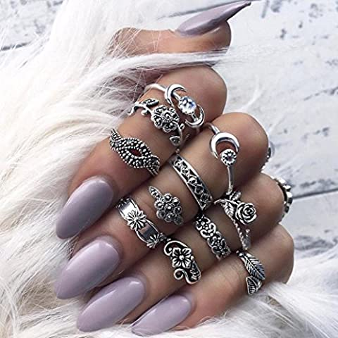 Malloom 11PCS/Set Women Bohemian Vintage Stack Rings Above Knuckle Rings Set (Silver) (Boho Rings Silver)