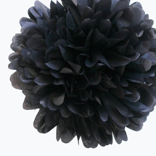 Dress My Cupcake 5-Inch Black Tissue Paper Pom Poms, Black Party Decorations/Hanging Wedding Supplies, Set of 8 for $<!--$7.50-->