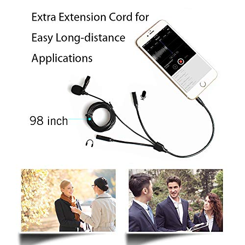 Lavalier Microphone, MAONO AU-303 Dual Clip-on Handsfree Omnidirectional Condenser Interview Lapel Mic with Headphone Monitoring Output Jack for iPhone, Android, Smartphones, iPad, Tablets