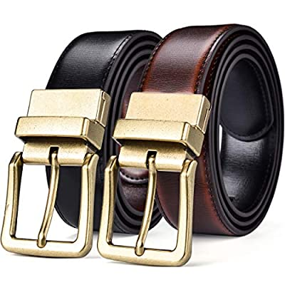 "Beltox Men's Belts Reversible Leather 1.25"" Wide 1 for 2 Rotate Buckle Gift Box"