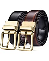 "Beltox Men's Belts Reversible Leather 1.25"" Wide 1 for 2 Rotate Buckle Gift Box(Antique Gold Buckle with Black/Cognac Belt,42-44)"