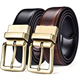 Beltox Men's Belts Reversible Leather 1.25' Wide 1 for 2 Rotate Buckle Gift Box(Antique Gold Buckle with Black/Cognac Belt,30-32)
