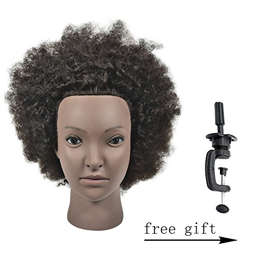 """Search : 10"""" Mannequin Head African American with 100% Human Hair Cosmetology Afro Hair Manikin Doll Head with Free Clamp"""