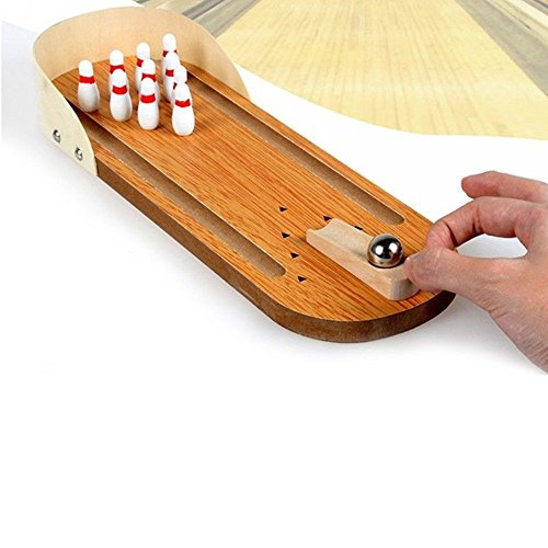 (Desktop Bowling Game Set Wooden Kid Children Ball Board Game Toy)