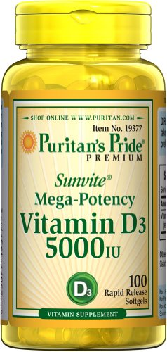 Fierté Prime Sunvite * Maga-tences Vitamine D3 5000 UI de Puritan; 100 Solfgels Rapid Release