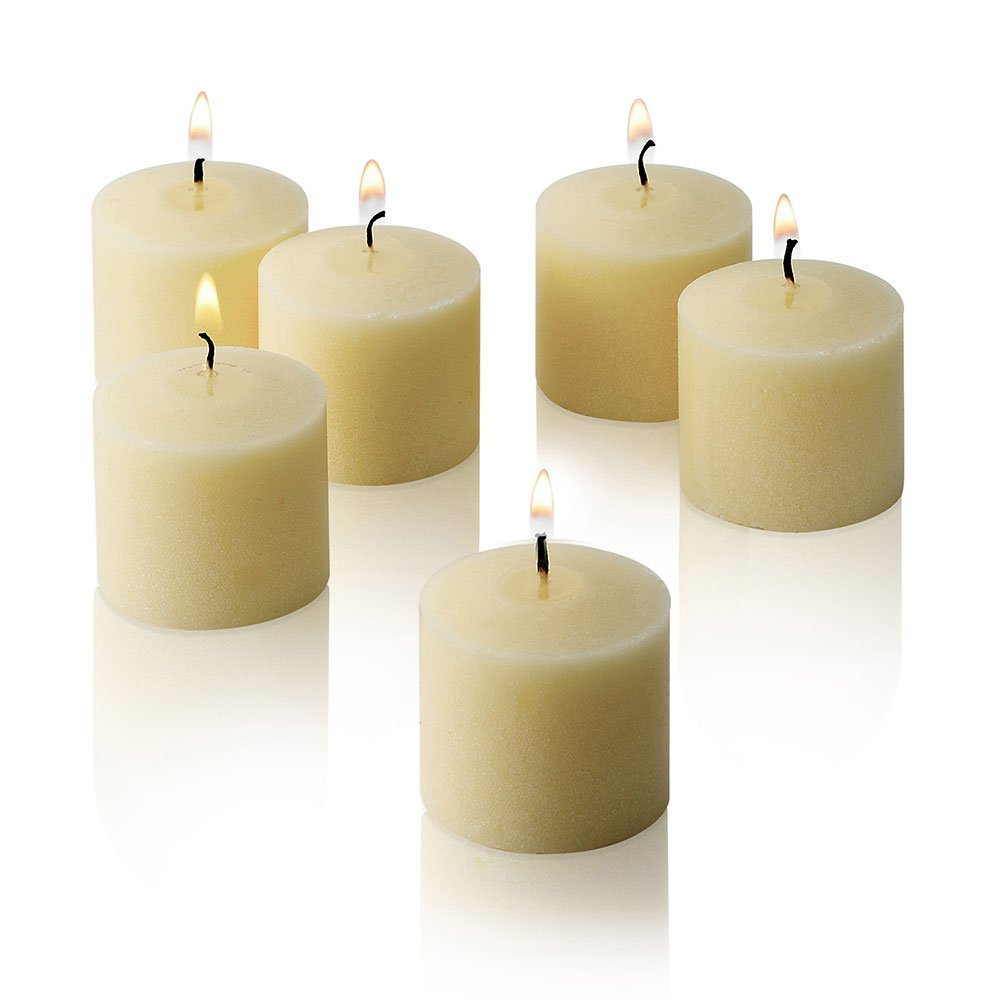 Ivory Votive Candles - Box of 72 Unscented Candles - 10 Hour Burn Time - Bulk Candles for Weddings, Parties, Spas and Decorations