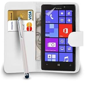 Mobi Plus Nokia Lumia 925 Monedero de cuero blanco del caso del tirón de la cubierta Pouch + Grandes Touch Stylus Pen + 2 x Protector de pantalla y paño de pulido