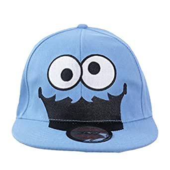 Gorra de diseño retro del monstruo de las galletas de Barrio Sésamo, de visera plana y parte trasera ajustable azul azul talla única