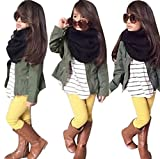 Lonsbo Kids Toddler Girls Fall Winter Warm Long Sleeve Tops+Coat+Pants Clothes Outfits Set (4T)