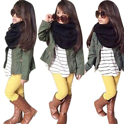 Lonsbo Kids Toddler Girls Fall Winter Warm Long Sleeve Tops+Coat+Pants Clothes Outfits Set ()