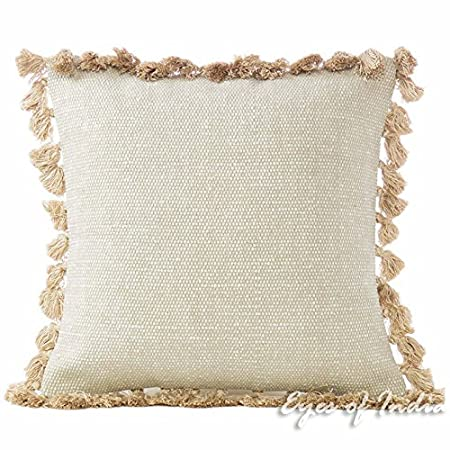 "Eyes Of India   16"" Cream Beige Cotton Dhurrie Tassels Cushion Cover Sofa Couch Decorative Pillow Throw Bohemian Indian Colorful Boho Cover Only by Eyes Of India"