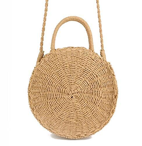 Zognsi Round Straw Beach Bag Summer mini Vintage Handmade Crossbody Bag Circle Rattan bag Small Bohemian Shoulder bag for women (Khaki (Vintage Handmade Cloth)