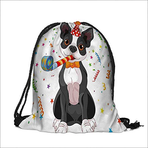 - Travel Drawstring Closure Bag for Kids Black and White Boston Terrier with Colorful Party Backdrop Multicolor Gift Bag Pouches 12