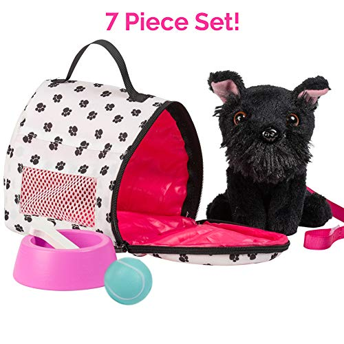 Adora Amazing Pets Sadie the Black Schnauzer - 18 Doll Accessory includes 4.5 Dog, Dog Carrier, Collar, Leash, Ball, Wooden Bowl and Bone (Amazon Exclusive)