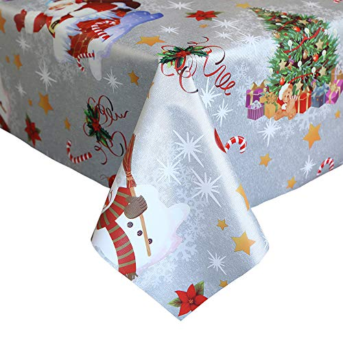 LEEVAN Heavy Weight Vinyl Square Table Cover Wipe Clean PVC Tablecloth Oil-Proof/Waterproof Stain-Resistant-54 x 54 Inch (Snowman White) (Vinyl Snowman Tablecloth)