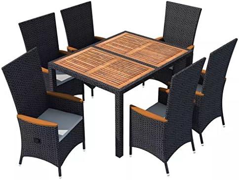 vidaXL Juego de Muebles de Jardín 7 Piezas Conjutno de Mesas y Sillas de Comedor Patio Exterior Poli Ratán Sintético Negro y Acacia: Amazon.es: Hogar