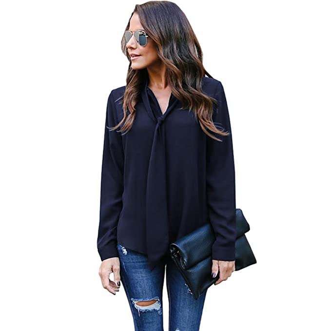706e7a1dc9e DAYSEVENTH BLOUSE Ladies Solid Long Sleeve V-Neck Tie Self Casual Chiffon Shirt  Top Blouse Sale  Amazon.co.uk  Clothing