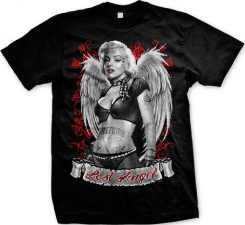Lost Angel, Marilyn Monroe Men's T-shirt, Marilyn Monroe With Tattoos and Wings Design Men's Tee (Black, 2X-Large) (Lost Angels T-shirt)