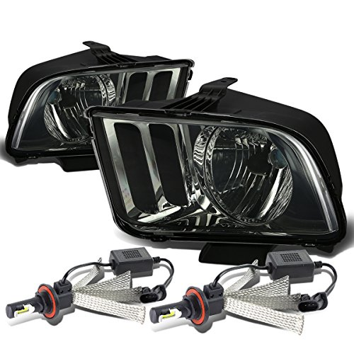 Ford Mustang Pony 5th Gen Pair of OE Style Smoked Lens Headlight + H13 LED Conversion Kit