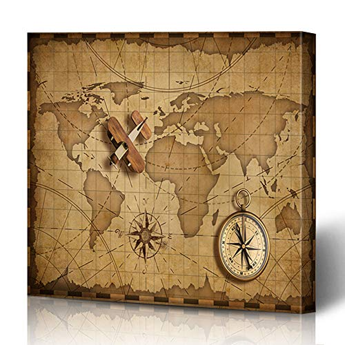 (Ahawoso Canvas Prints Wall Art 12x12 Inches Nautical Brown Compass Wood Airplane Over World Parchment Map Adventure Aged Air Ancient Antique Wooden Frame Printing Home Living Room Office Bedroom)