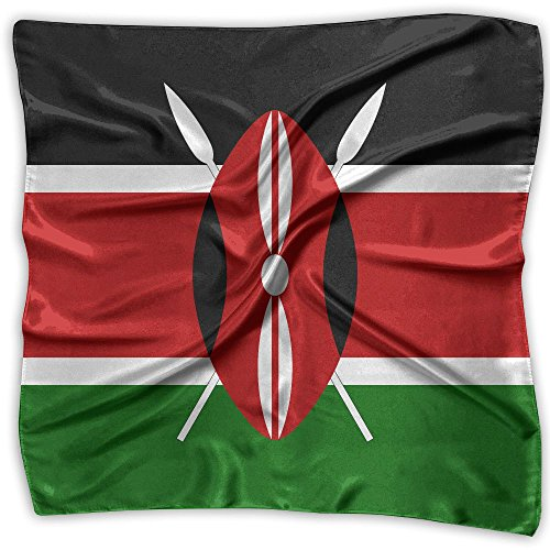 Africa Flag Of Kenya Women's Neckerchief Large Square Scarf Satin Headscarf by RONGFA