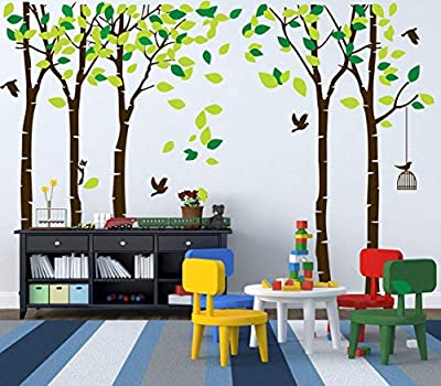 MAFENT Giant Family Tree Wall Decals Forest Birch Tree Wall Stickers Birds Wall Art for Kids Room Nursery Bedroom Living Room Decoration