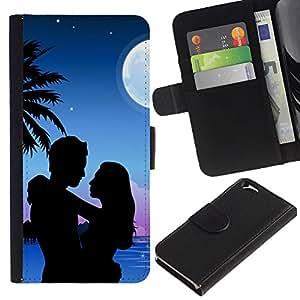EJOY---La carpeta del tirón la caja de cuero de alta calidad de la PU Caso protector / Apple Iphone 6 / --Retro Vintage Miami Moon Beach
