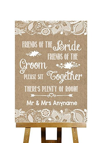 burlap lace effect no seating plan sit together personalised