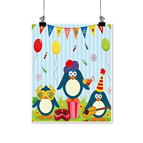 Modern Painting Kids Penguin P Flags Cak and Box Light Blue and Fern Green Artwork for Home Decorations,24