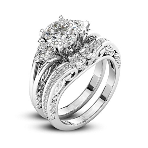 Challyhope Hot Sale! 2-in-1 Fashion Brilliant Diamond Halo Ring Engagement Wedding Band Ring Creative Ring Set Accessories For Women (Sliver B, 7)