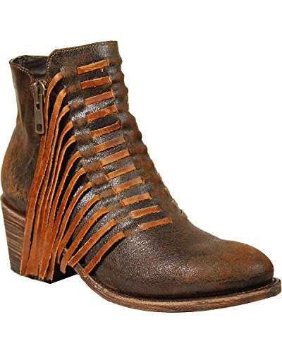 CORRAL Womens Side Fringe Ankle Boot - E1216 Brown XHQOgA