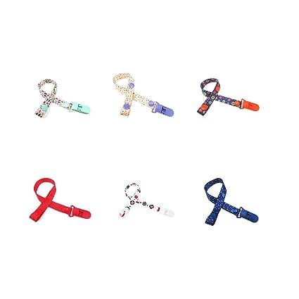 6 pcs Clip de Chupete Cadena para Bebé,Piezas Pinzas Para Chupetes De Niños, y Niñas,Color Azar