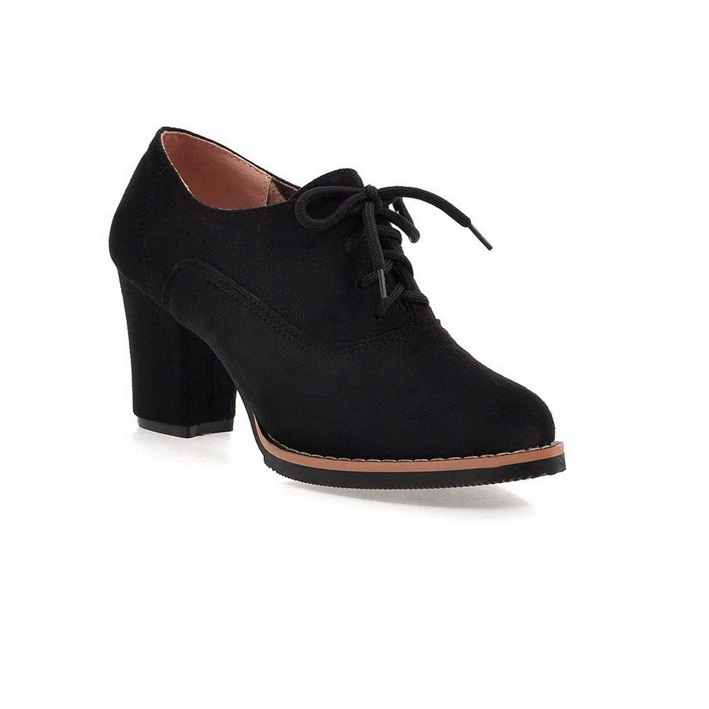 WeenFashion Women's Solid Imitated Suede High-Heels Lace-up Round Closed Toe Boots, Black, 41 by WeenFashion
