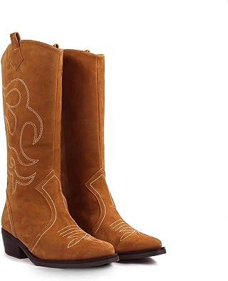 Cleveland - Botas Altas Moda Tendencia Cowboy para Mujer de Piel - Hechos en España - Caña Alta 36 cm - Tacon Ancho 4 cm - Made in Spain - Piel Canela: Amazon.es: Zapatos y complementos