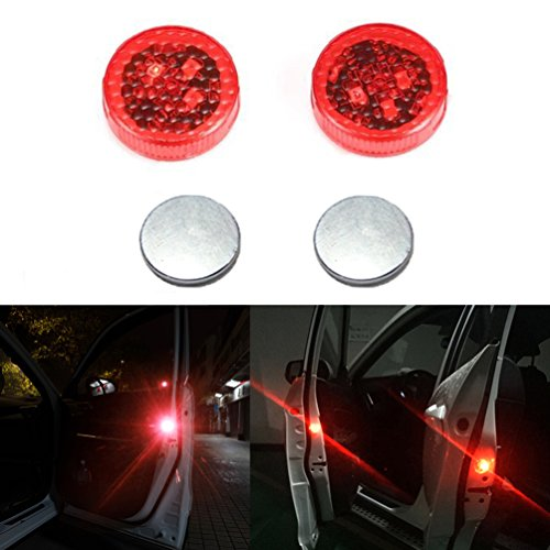 Car Door Warning Lights Red Flicker Wireless Safety Reflector Anti-collision Waterproof Cars Rear LED Flashing Door Signal Light for Vehicle Trucks, 2pcs - Flashing Safety Reflector