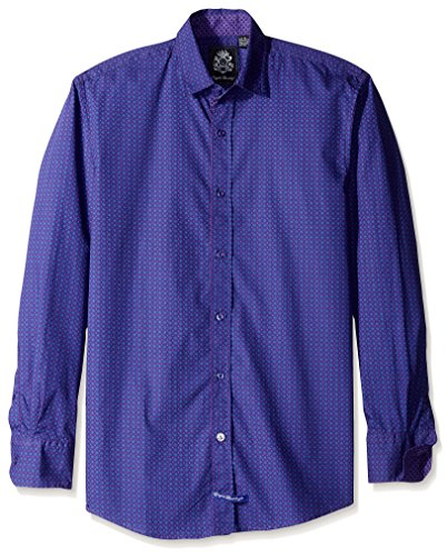 English Laundry Men's Mini Dot Long Sleeve Sport Shirt, Purple, (English Laundry Striped Shirt)