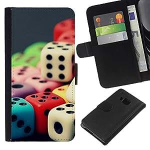 All Phone Most Case / Oferta Especial Cáscara Funda de cuero Monedero Cubierta de proteccion Caso / Wallet Case for HTC One M9 // Colored Rainbow Dice