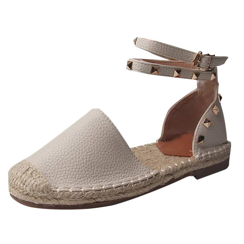 FRENDLY Women Round Toe Ankle Strap Cover Heels Flat Linen Rivet Rome Sandals Shoes Summer Sandals Flat Shoes Beige