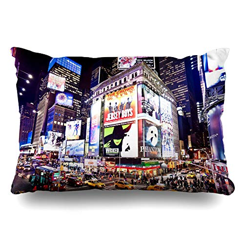 DIYCow Throw Pillows Covers Neon Newyork January 6 Exterior Illuminated Facades Broadway New York Cushion Case Pillowcase Home Sofa Couch King Size 20 x 36 Inches Pillowslips ()