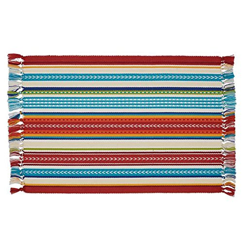 - Design Imports Baja Cantina Cotton Southwest Table Linens, Placemat 13-Inch by 19-Inch, Baja Striped Fringed