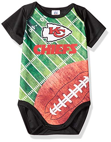 NFL Kansas City Chiefs Unisex-Baby Short-Sleeve Bodysuit, Black, 3 Months ()