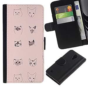 For Samsung Galaxy S4 IV I9500 Case , Breeds Faces Drawing Pencil Art - la tarjeta de Crédito Slots PU Funda de cuero Monedero caso cubierta de piel
