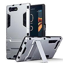 Xperia X Compact Case - Terrapin Sony Xperia X Compact Cover - Full Body Shock Resistant Armor Case - High-Tech Look - Dual Layer - Kickstand - Silver