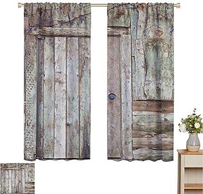 Cortinas personalizadas de Petpany rústicas, puertas de garaje cerradas de roble antiguo con bisagras de acero, imagen típica de la puerta de la cabaña, Tortilla, para paneles de oscurecimiento de la habitación