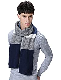 Winter Cashmere Scarf for Men, Color Block Stripe Wool Knit Fashion Long Scarf
