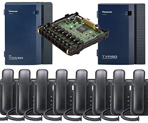 Panasonic KX-TDA50G Small Office Business Phone System 8pc KX-DT543 Black KX-TVA50 Voicemail KX-TDA5172 8 Port Expantion Card