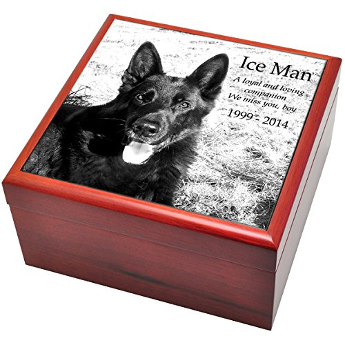 Custom Personalized Engraved Cherry Finish Wood Photo Box Pet Urn with Granite Tile, Large