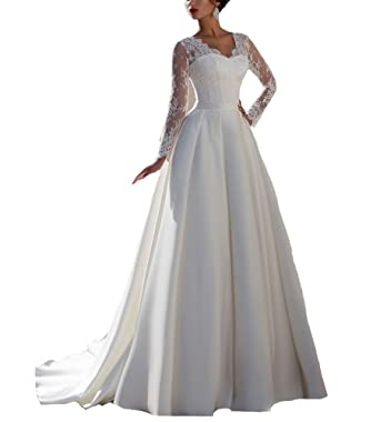 Beauty Bridal Lace and Satin V Neck Long Sleeves Wedding Dresses(2,Ivory)