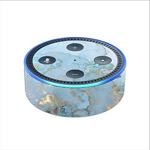 Skin Decal Vinyl Wrap for Amazon Echo Dot 2 stickers skins cover (2nd generation) Skins Stickers Cover / Teal Blue Gold White Marble Granite