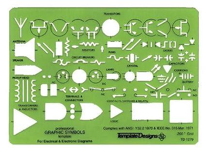 Amazon.com : QUINT GRAPHICS Electronic Symbols Template : Drafting ...